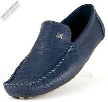 Синие мокасины кожаные «Ideal»